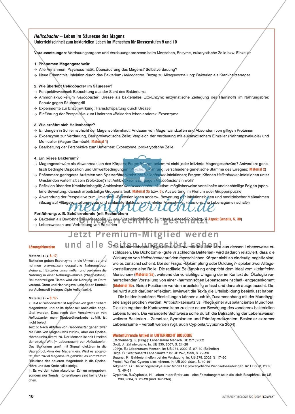 Alltagsvorstellungen zur Mikrobiologie - Zellen und Bakterien: Info-Text und Aufgaben Preview 2