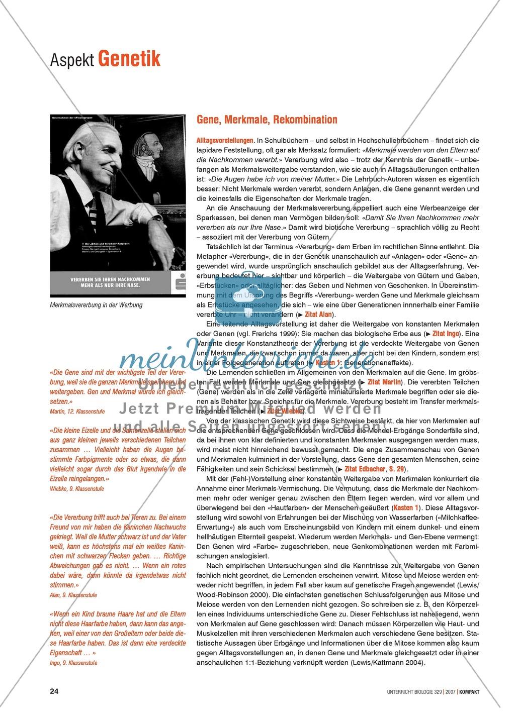Alltagsvorstellungen zur Genetik - Gene, Merkmale und Rekombination: Info-Text und Aufgaben Preview 0