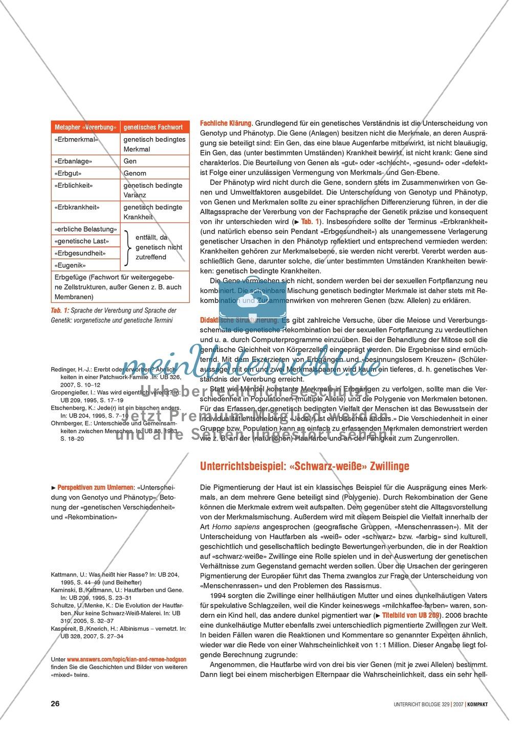 Alltagsvorstellungen zur Genetik - Gene, Merkmale und Rekombination: Info-Text und Aufgaben Preview 2