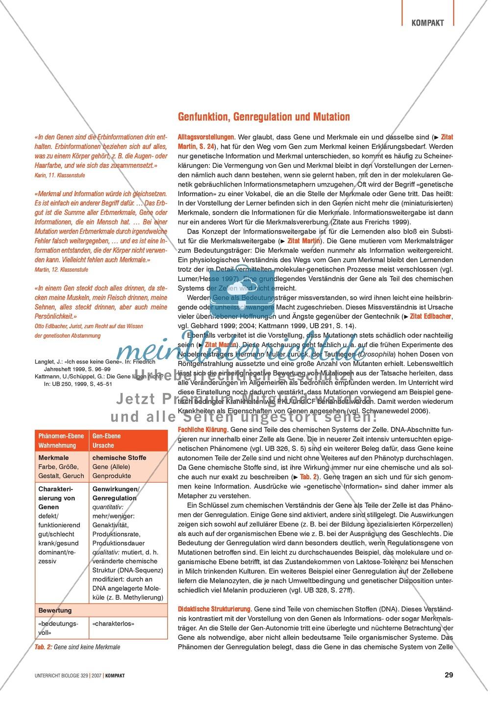 Alltagsvorstellungen zur Genetik: Genfunktion, Genregulation und Mutation: Info-Text und Aufgaben Preview 0