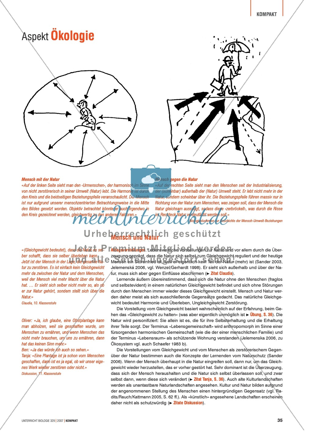 Alltagsvorstellungen zur Ökologie - Mensch und Natur: Info-Text und Aufgaben Preview 0