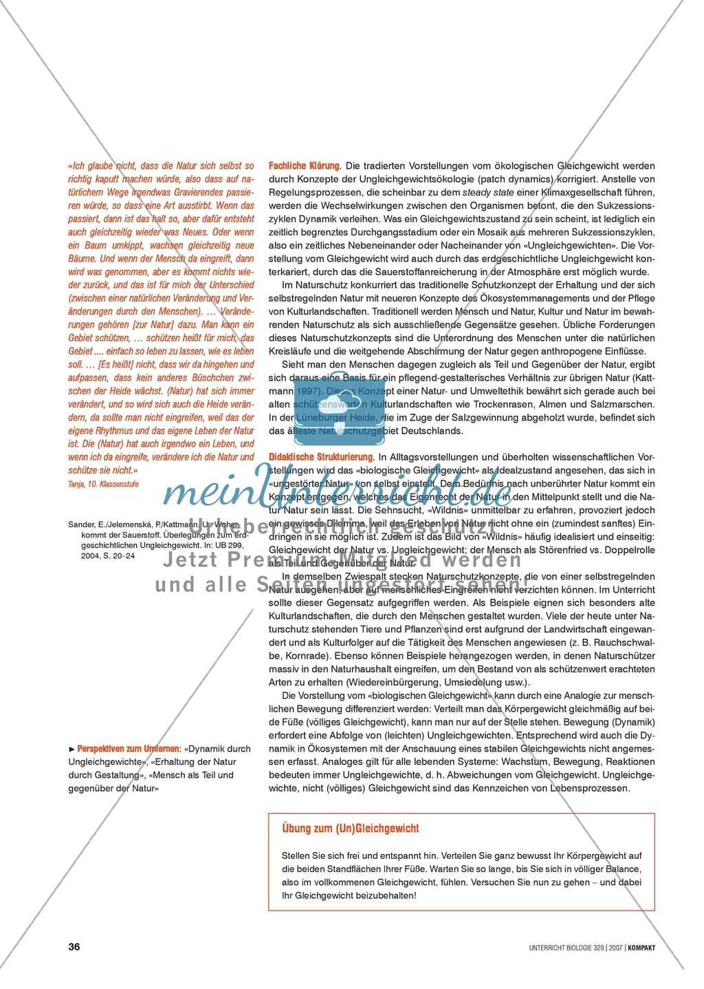 Alltagsvorstellungen zur Ökologie - Mensch und Natur: Info-Text und Aufgaben Preview 1