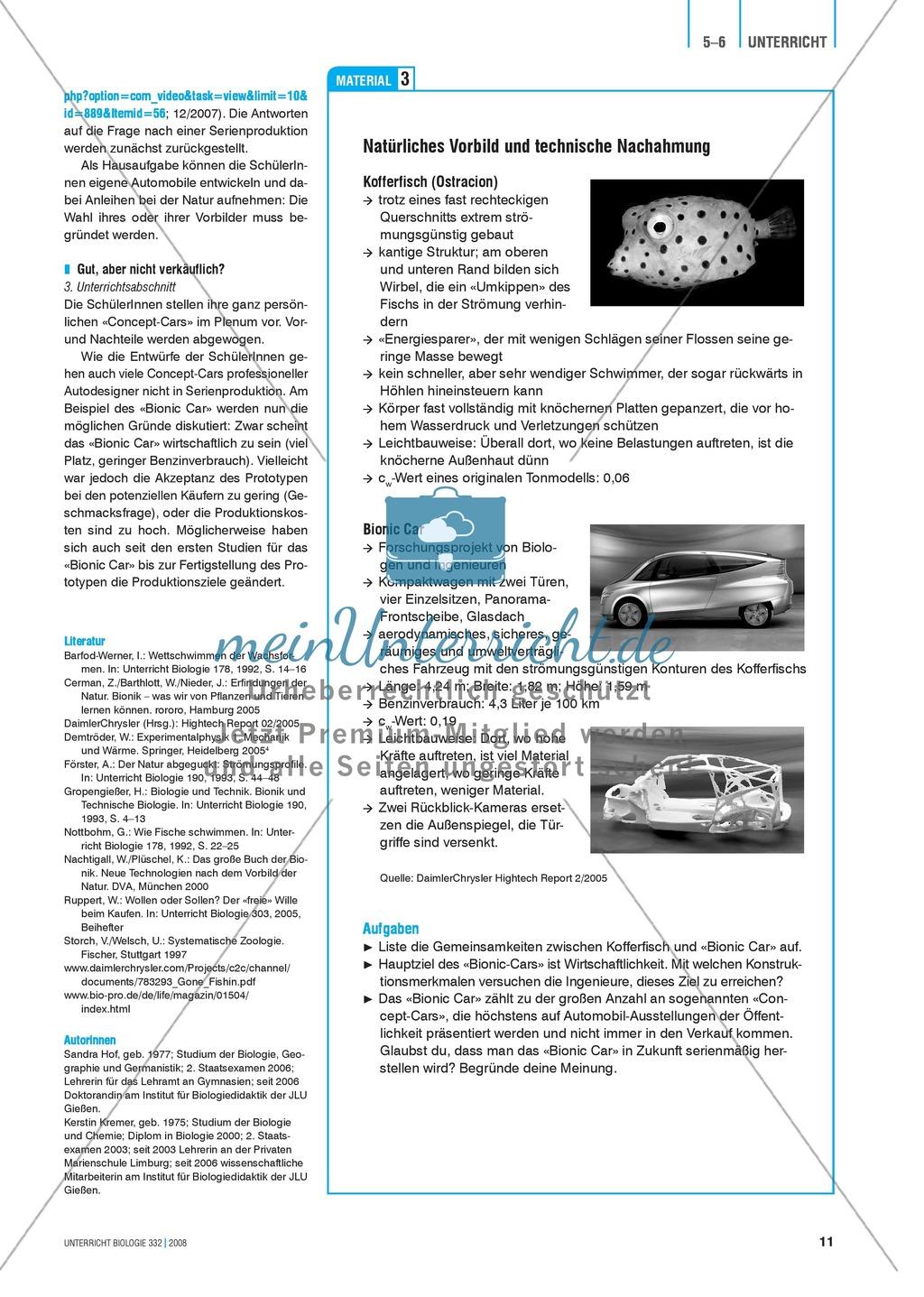 Bionik: Vom Kofferfisch zum schnellen Flitzer? Automobilingenieure auf Suche in tropischen Meeren - Info-Text und Aufgaben Preview 3