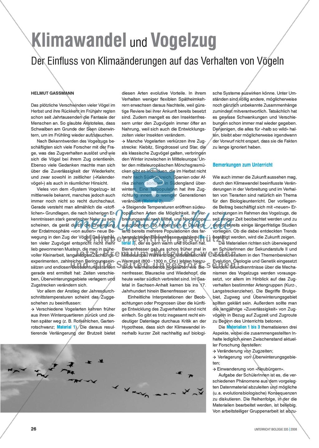 Klimawandel und Vogelzug: Der Einfluss von Klimaveränderungen auf das Verhalten von Vögeln - Info-Text und Aufgaben Preview 0
