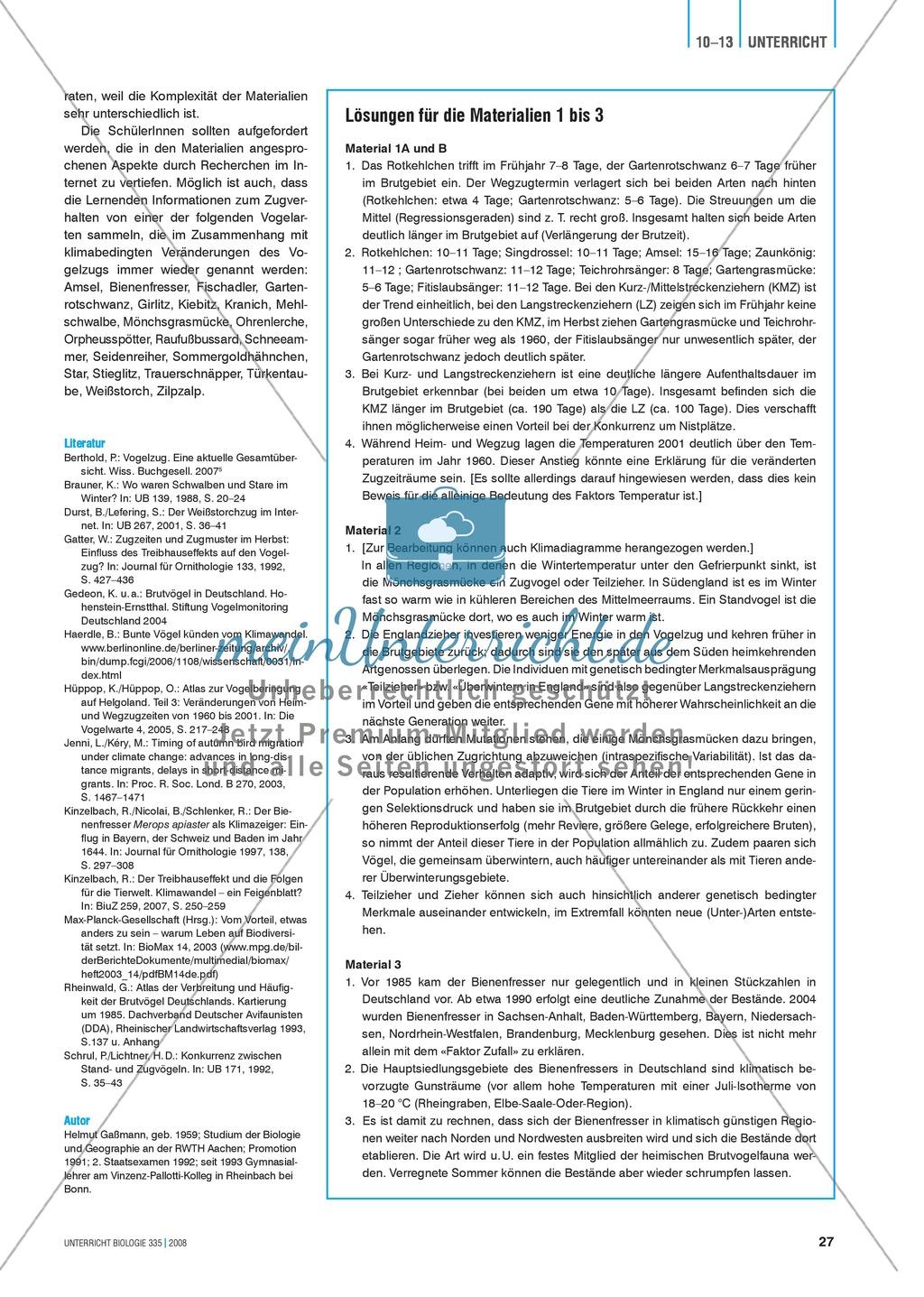 Klimawandel und Vogelzug: Der Einfluss von Klimaveränderungen auf das Verhalten von Vögeln - Info-Text und Aufgaben Preview 1
