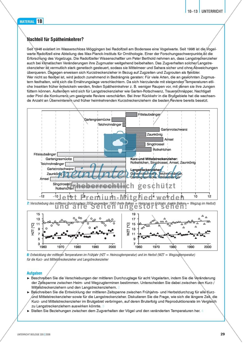 Klimawandel und Vogelzug: Der Einfluss von Klimaveränderungen auf das Verhalten von Vögeln - Info-Text und Aufgaben Preview 3