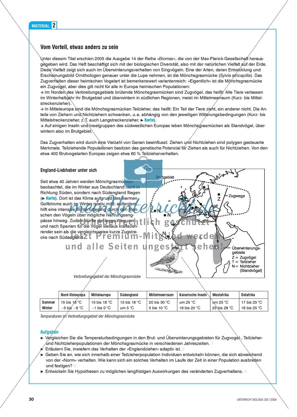 Klimawandel und Vogelzug: Der Einfluss von Klimaveränderungen auf das Verhalten von Vögeln - Info-Text und Aufgaben Preview 4