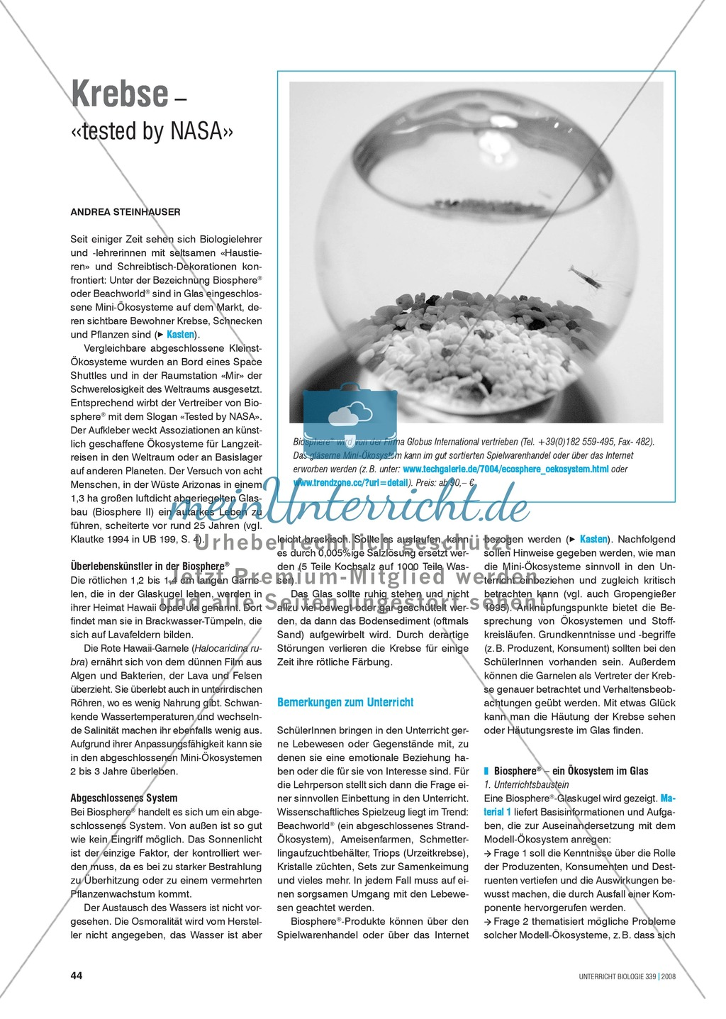 Krebse: Biosphere/Beachworld - Mini-Ökosysteme im Glas Preview 0
