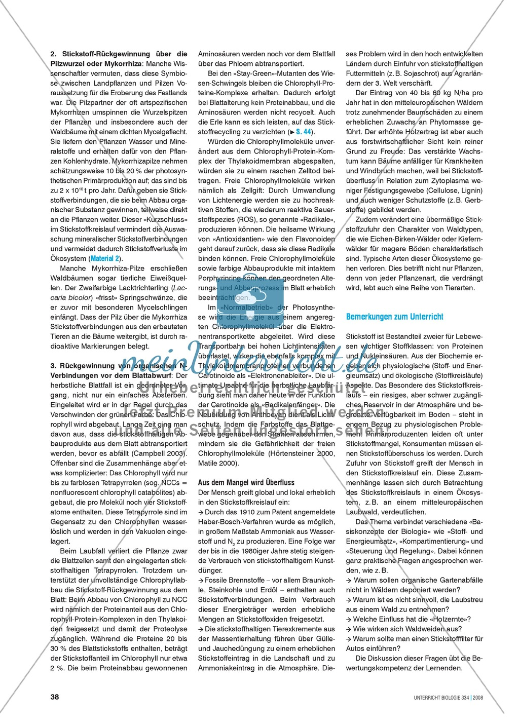 Der Stickstoff im Ökosystem Wald - Info-Text und Aufgaben Preview 2