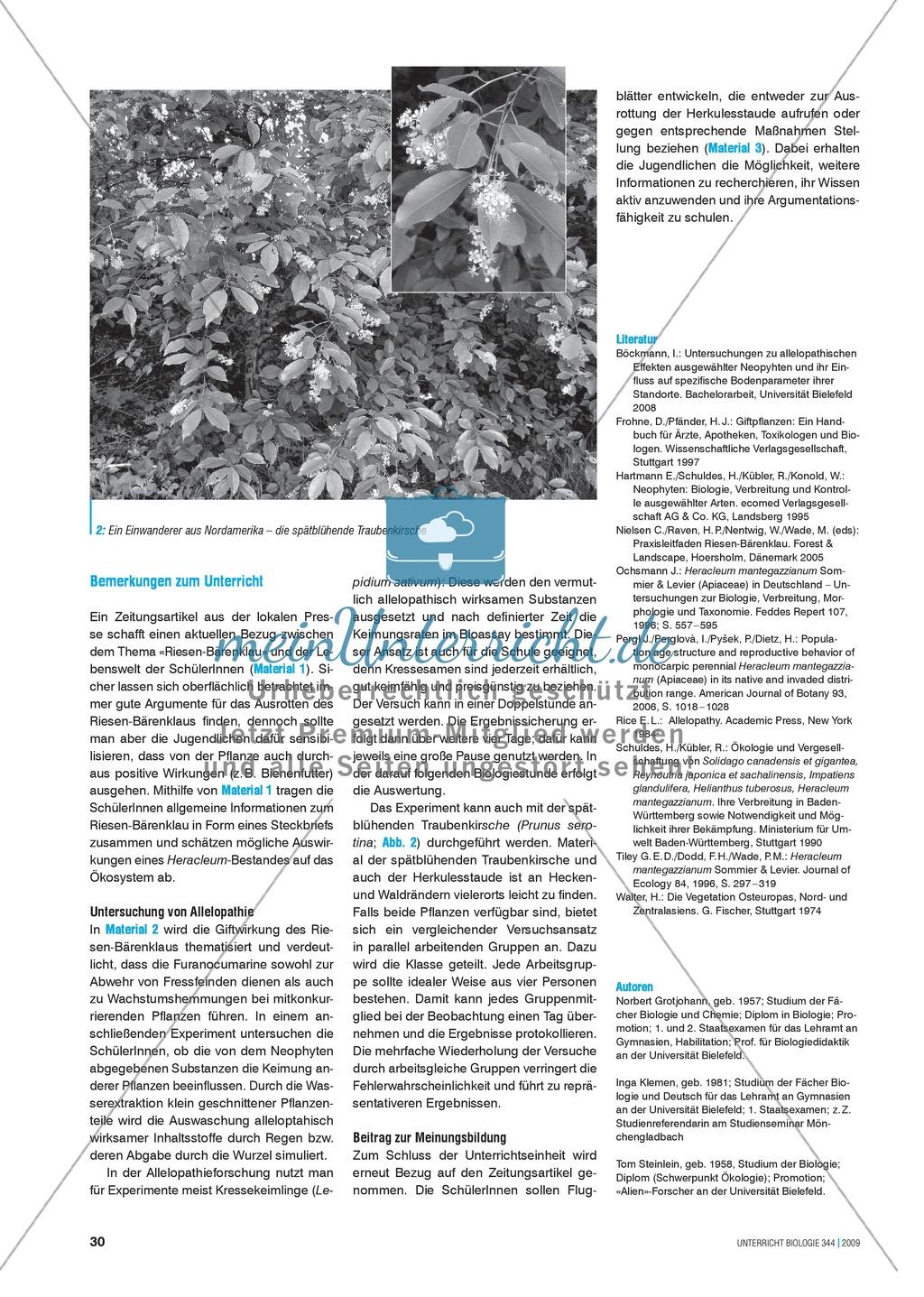 Neobiota: Die Anpassungs- und Verteidigungsmechanismen der Herkulesstaude erarbeiten und verstehen Preview 1