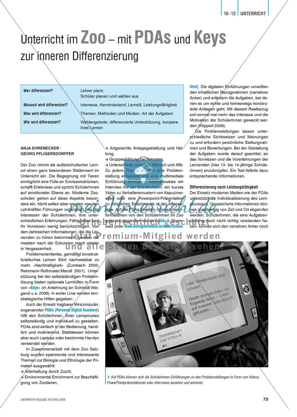 Lernen im Zoo: Hinweise zur Binnendifferenzierung mit Hilfe von PDAs und Keys Preview 1