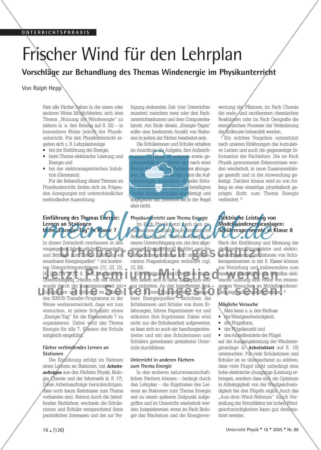 Frischer Wind für den Lehrplan - Vorschläge zur Behandlung des Themas Windenergie im Physikunterricht Preview 1
