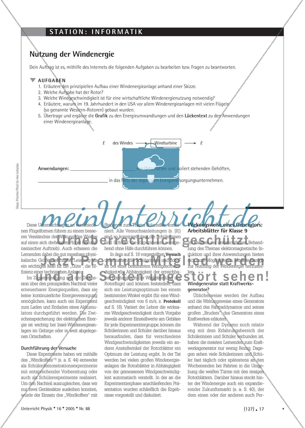 Frischer Wind für den Lehrplan - Vorschläge zur Behandlung des Themas Windenergie im Physikunterricht Preview 2