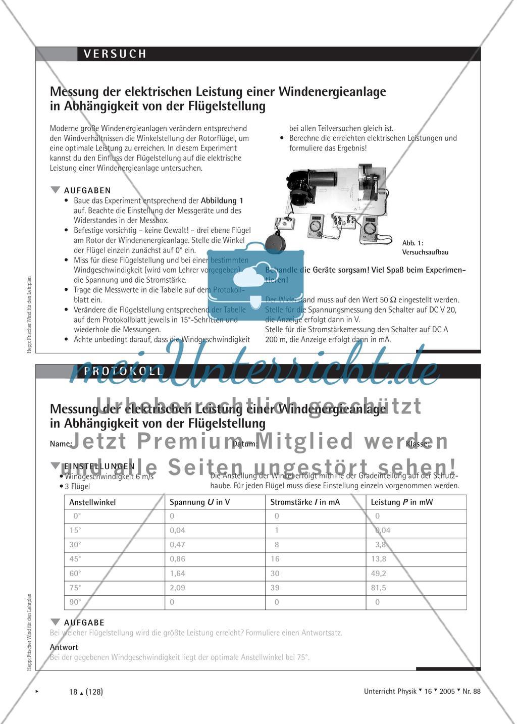 Frischer Wind für den Lehrplan - Vorschläge zur Behandlung des Themas Windenergie im Physikunterricht Preview 3