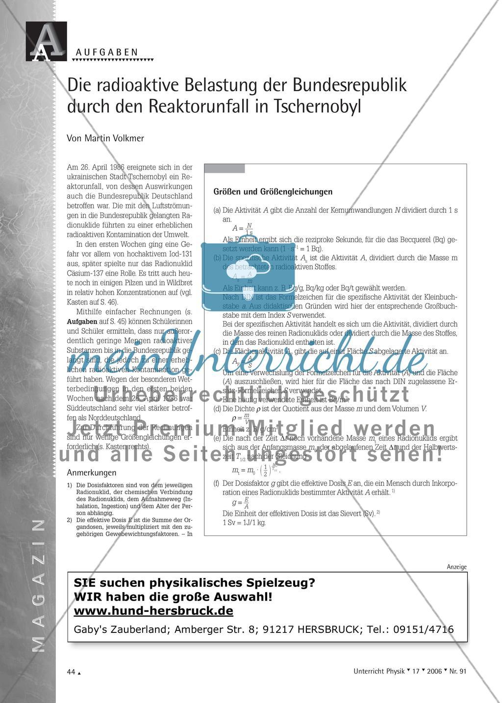 Die radioaktive Belastung der Bundesrepublik durch den Reaktorunfall in Tschernobyl Preview 1