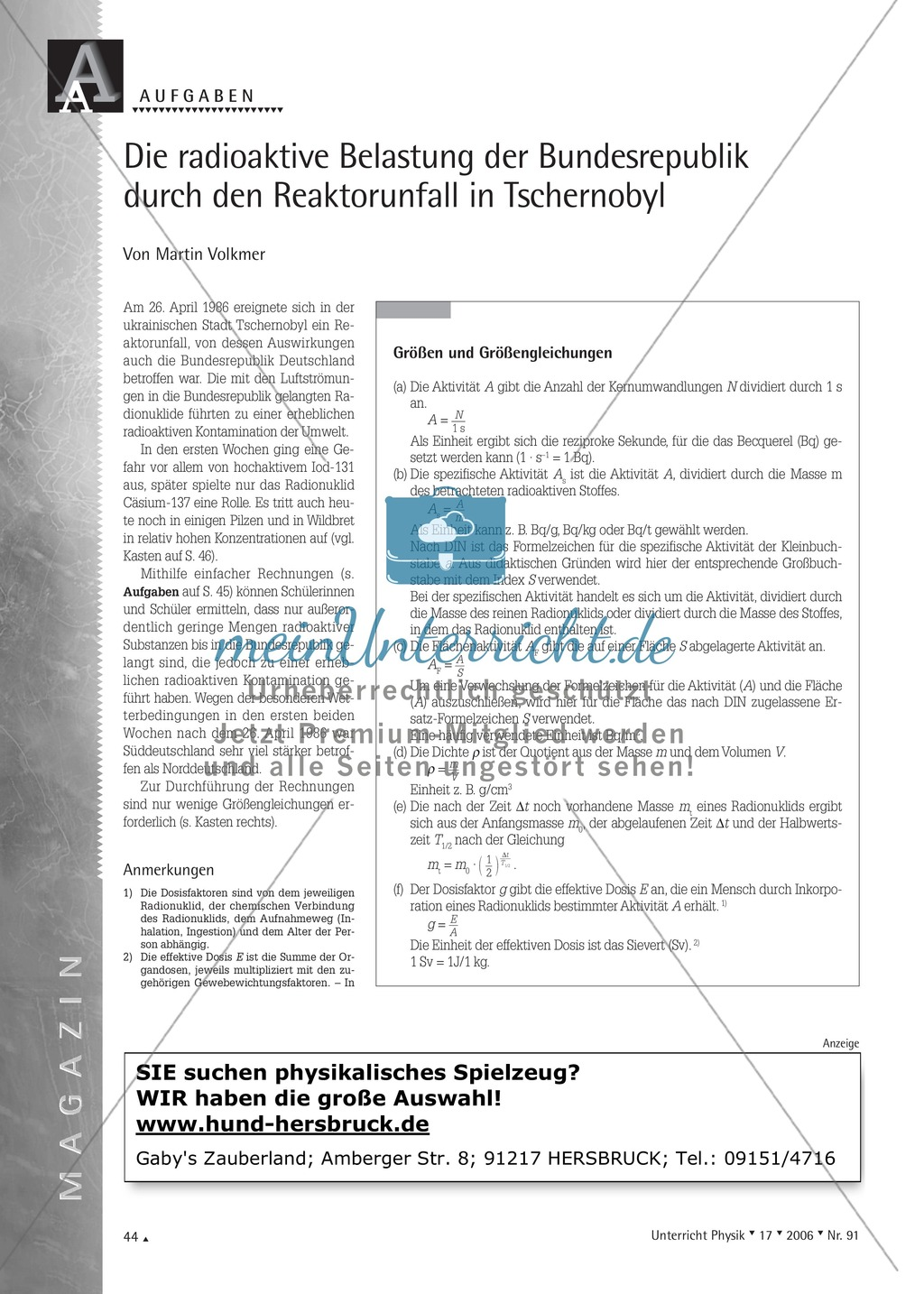 Kernphysik: Die radioaktive Belastung der Bundesrepublik durch den ...