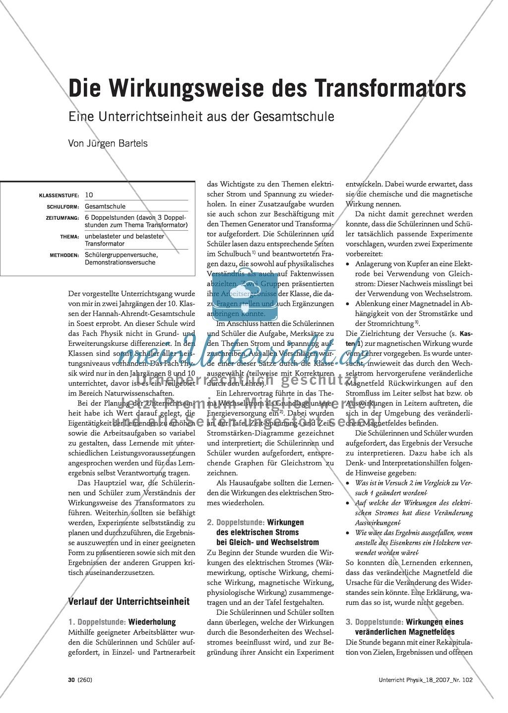Elektrizitätslehre: Unterrichtseinheit über die Funktionsweise des ...