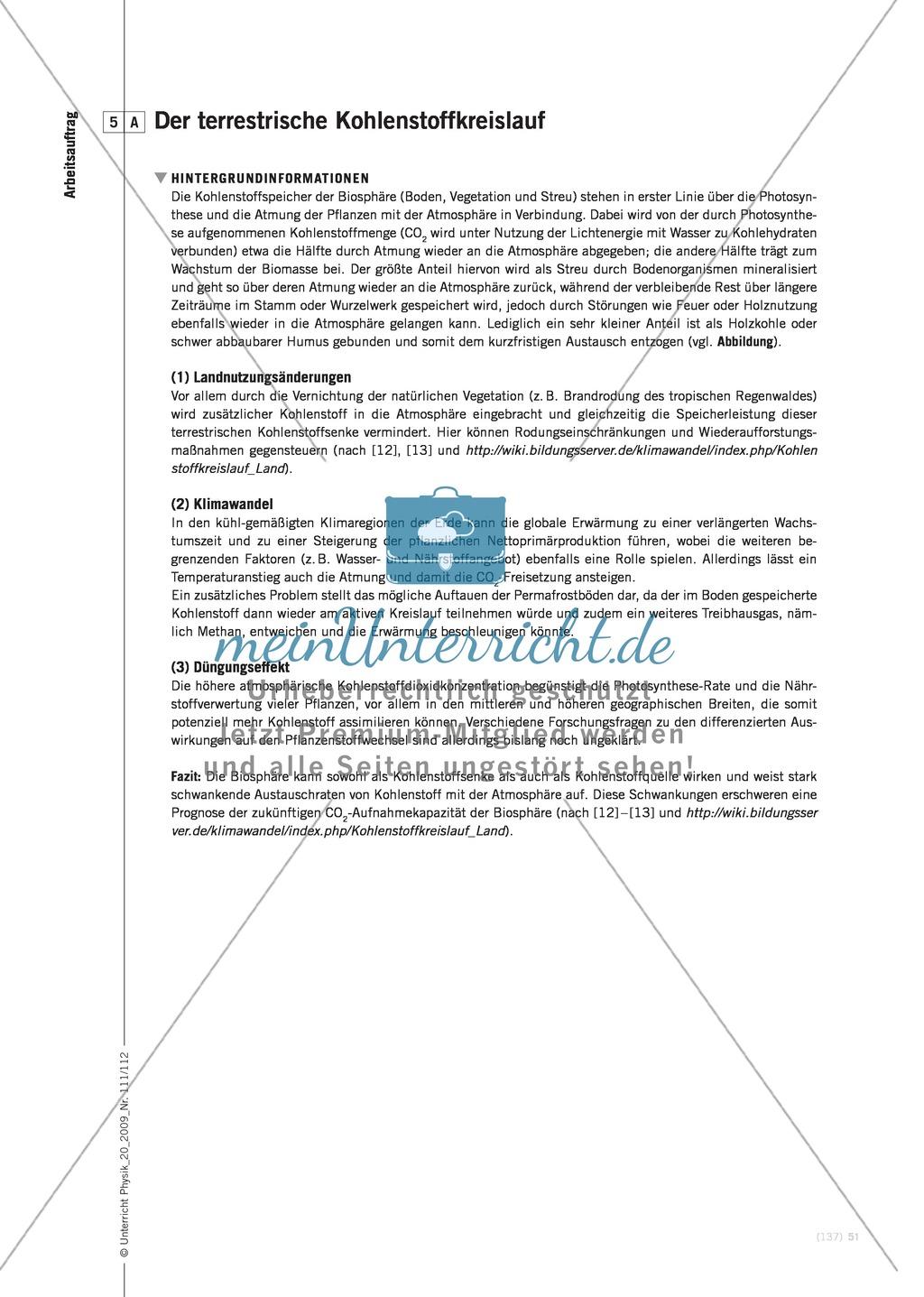 Fachübergreifender Unterricht zum Thema Kohlenstoffdioxid  und Klimawandel. Mit Infotext und Arbeitsblättern. Preview 9
