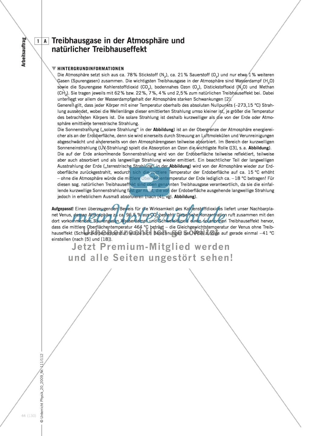 Fachübergreifender Unterricht zum Thema Kohlenstoffdioxid  und Klimawandel. Mit Infotext und Arbeitsblättern. Preview 2