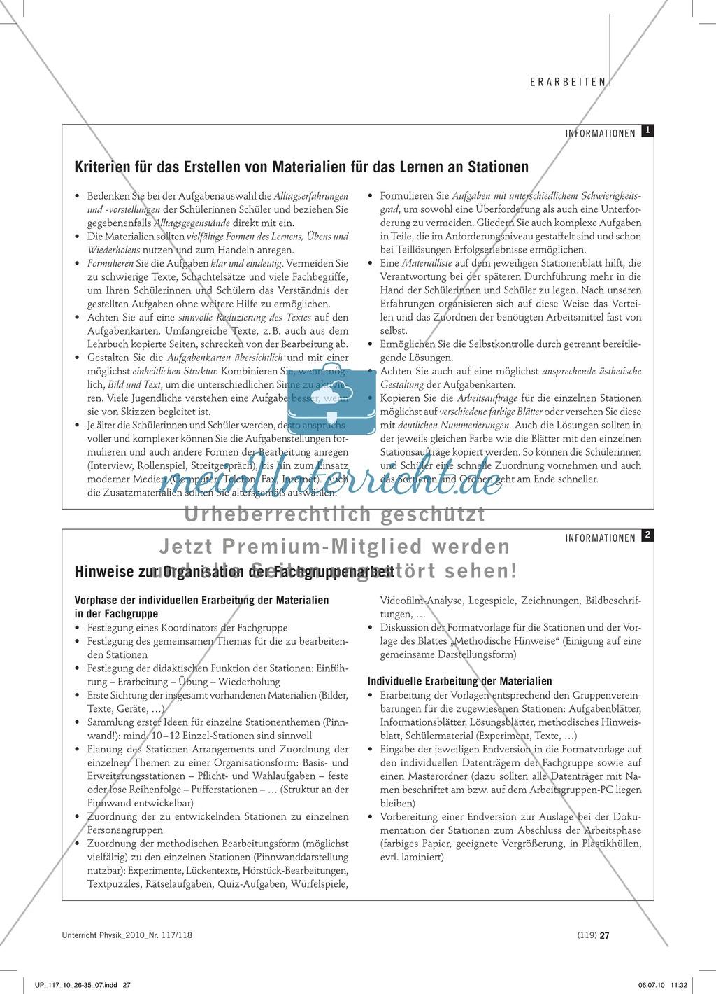 Infotext: Regeln für das Arbeiten an Stationen. Preview 1