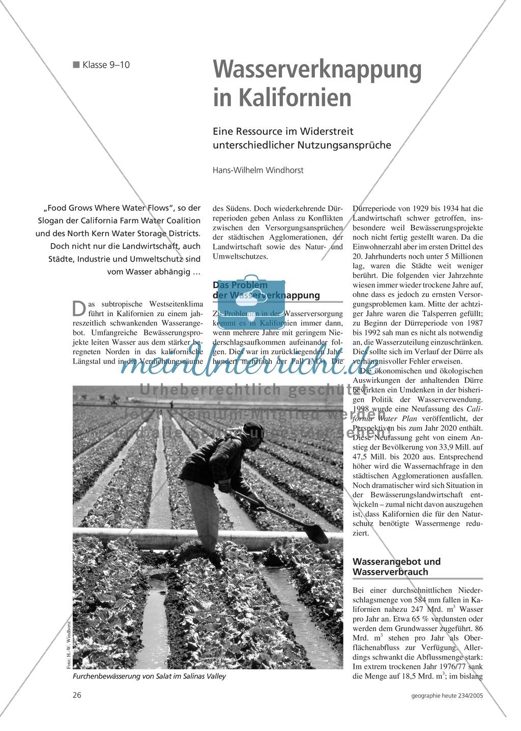 Die Landwirtschaft der USA: Nutzungskonflikte - Wasserknappheit in Kalifornien Preview 0