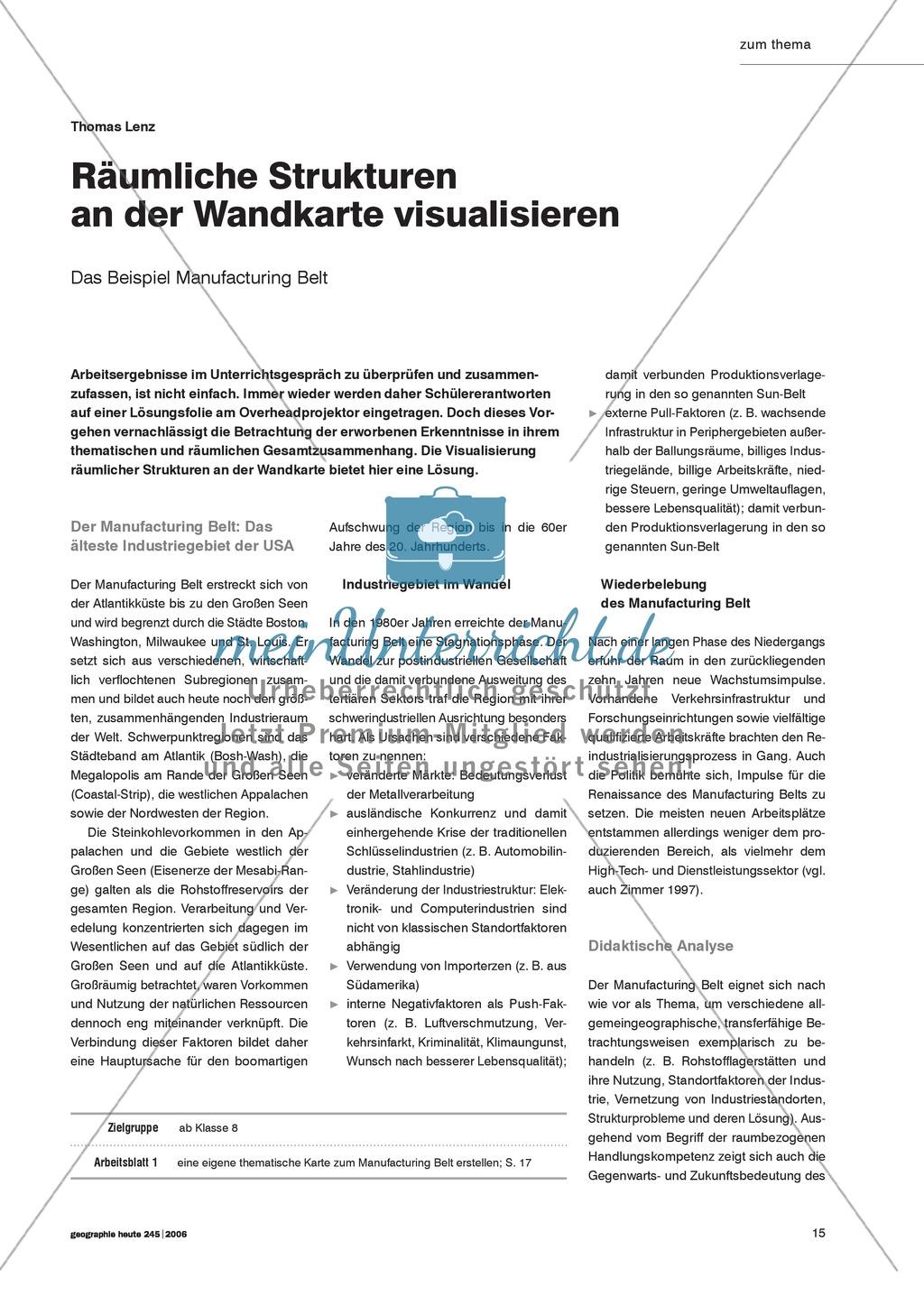 Die Wandkarte im Geographieunterricht : Visualisierung von Raumstrukturen Preview 0