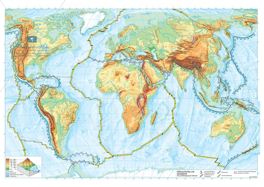Vulkanismus: DIN-A1-Poster der physischen Weltkarte mit Plattengrenzen und Meeresbodenrelief Preview 0