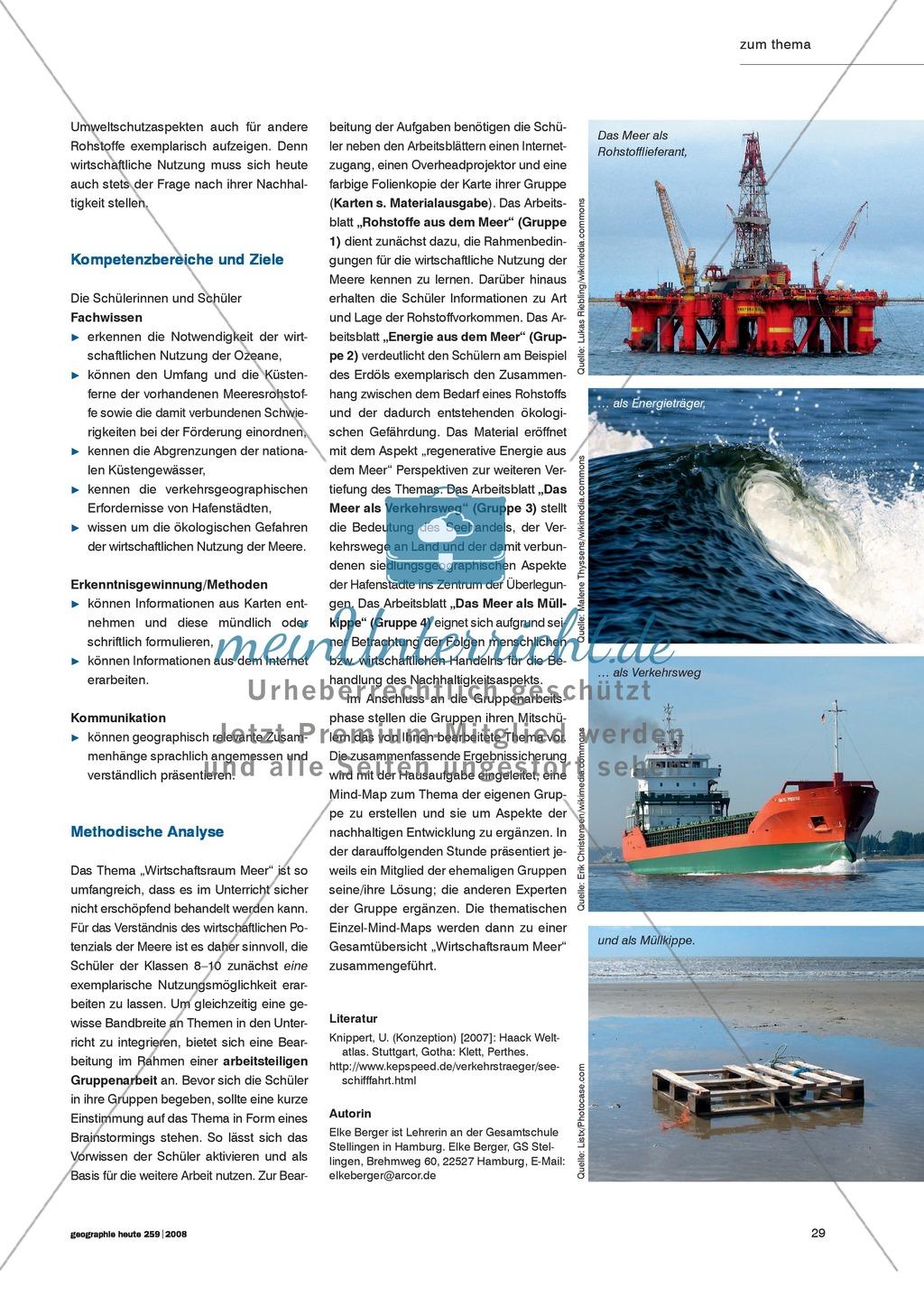 Das Meer als Wirtschaftsraum kennen lernen: Energie +  Rohstoffe + Verkehr + Fischerei Preview 1