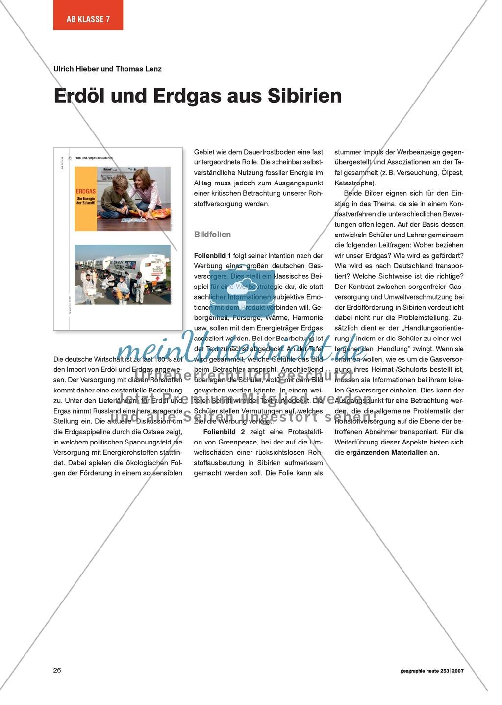 Bilder lesen lernen: Erdöl + Erdgas aus Sibirien - meinUnterricht