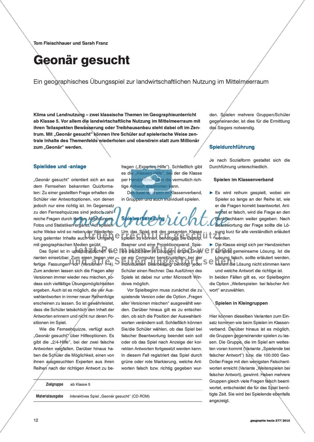 Klima und Landnutzung: Geographisches Übungsspiel zur landwirtschaftlichen Nutzung im Mittelmeerraum Preview 0