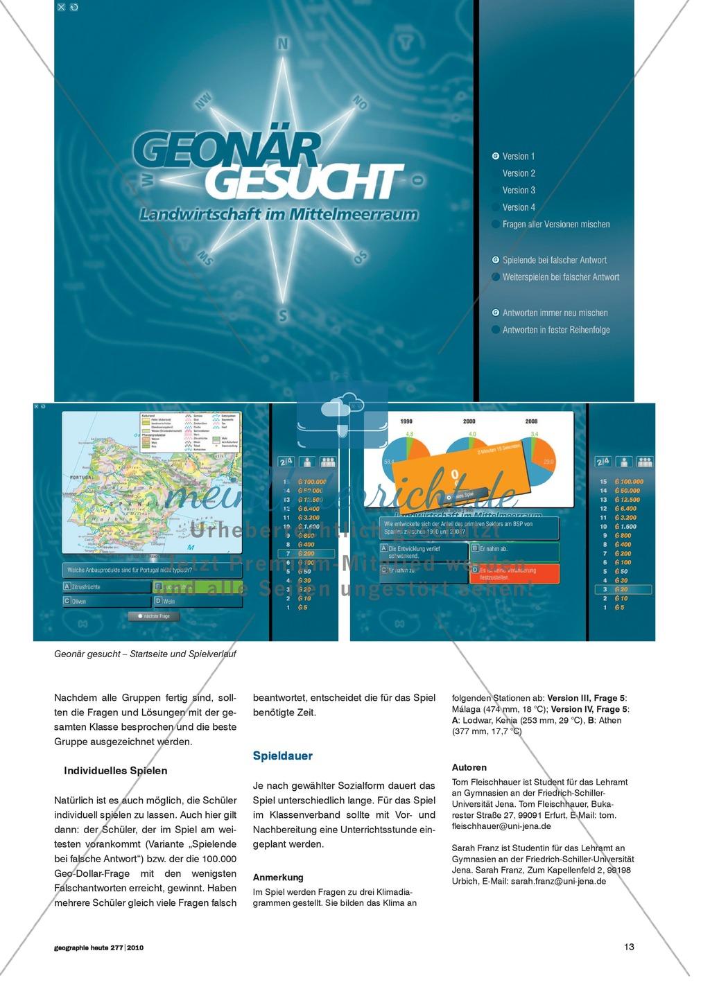 Klima und Landnutzung: Geographisches Übungsspiel zur landwirtschaftlichen Nutzung im Mittelmeerraum Preview 1