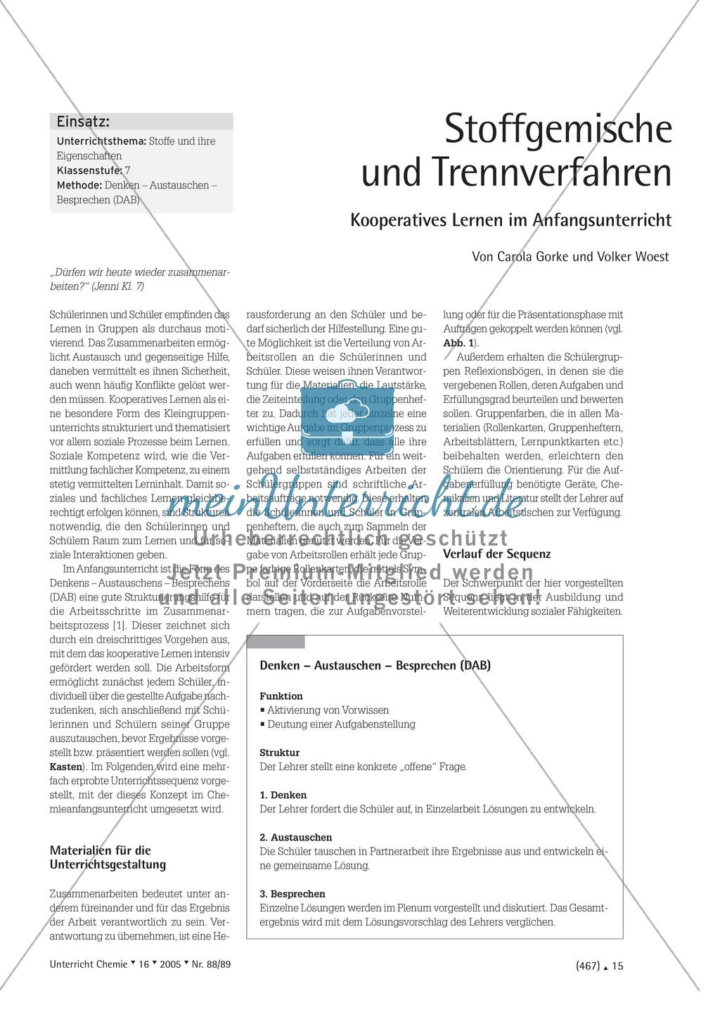 Kooperatives Lernen nach dem DAB-Prinzip - Stoffgemische und Trennverfahren Preview 0
