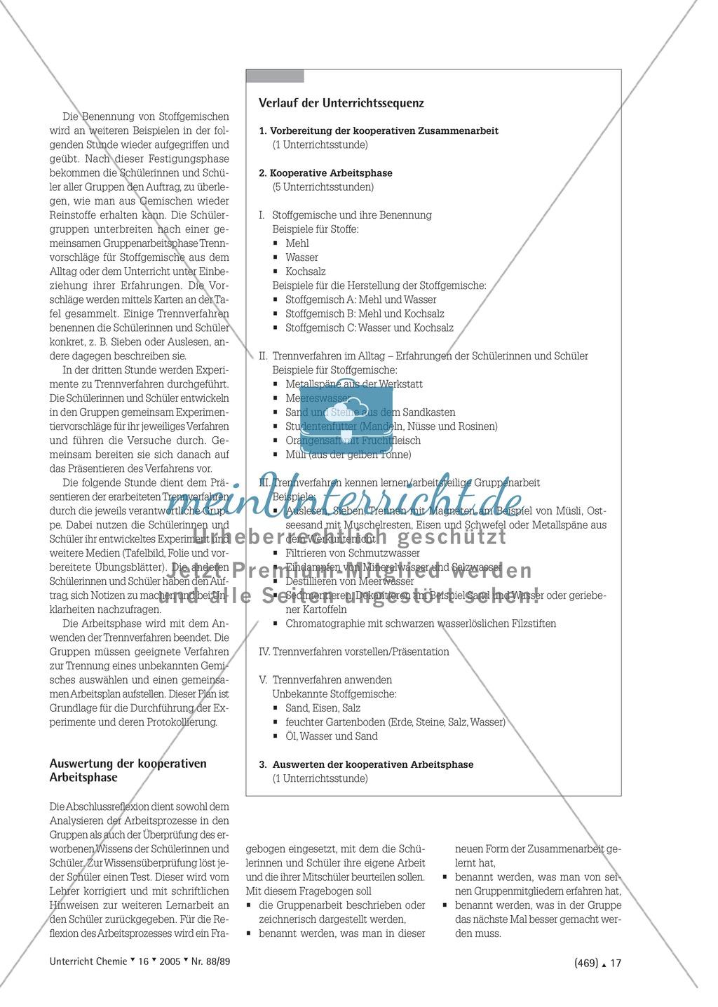 Kooperatives Lernen nach dem DAB-Prinzip - Stoffgemische und Trennverfahren Preview 2