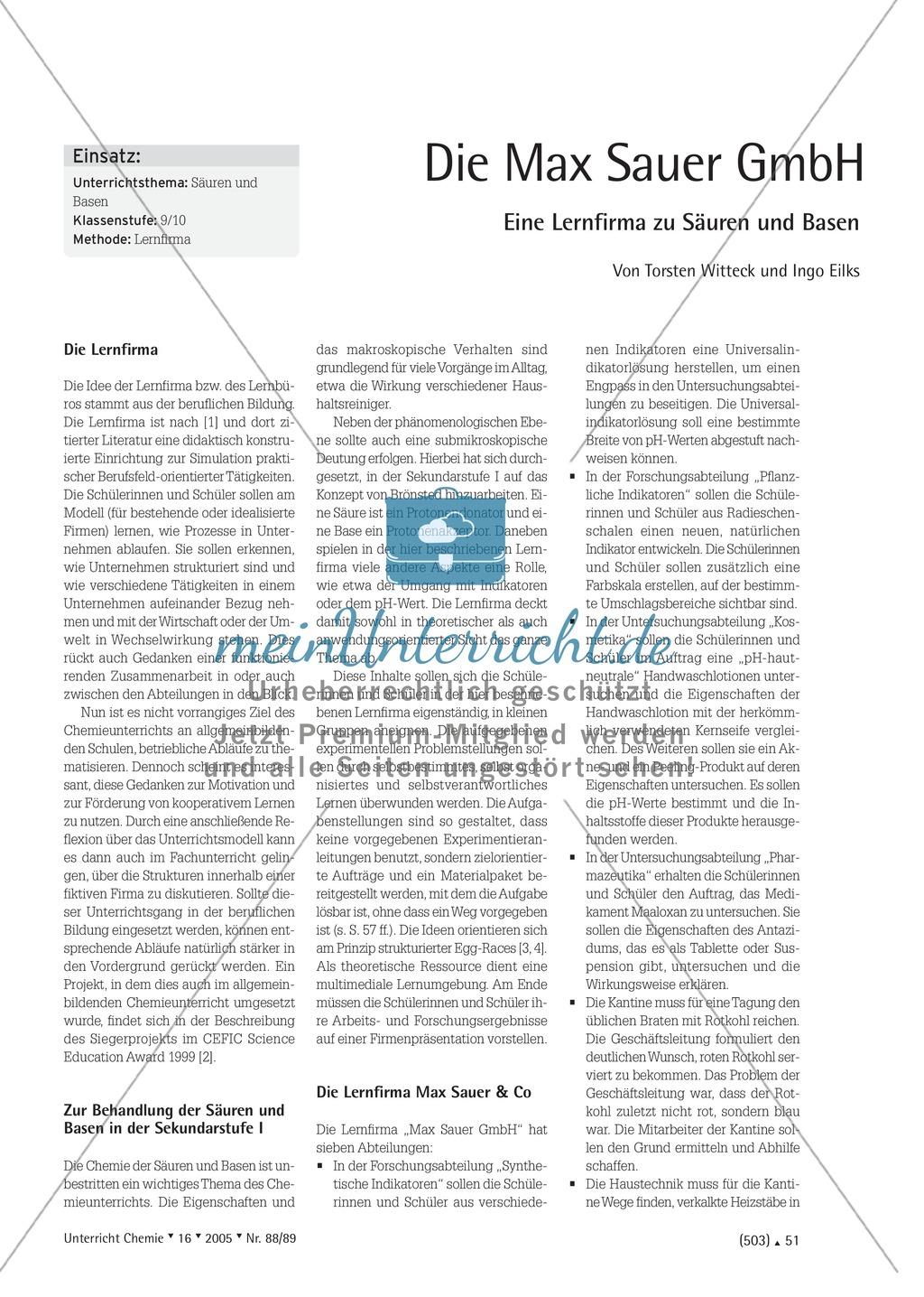 Unterrichtsmethode Lernfirma - Säuren und Basen mit Alltagsbezug Preview 0