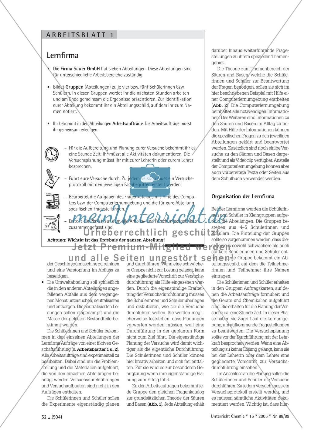 Unterrichtsmethode Lernfirma - Säuren und Basen mit Alltagsbezug Preview 1
