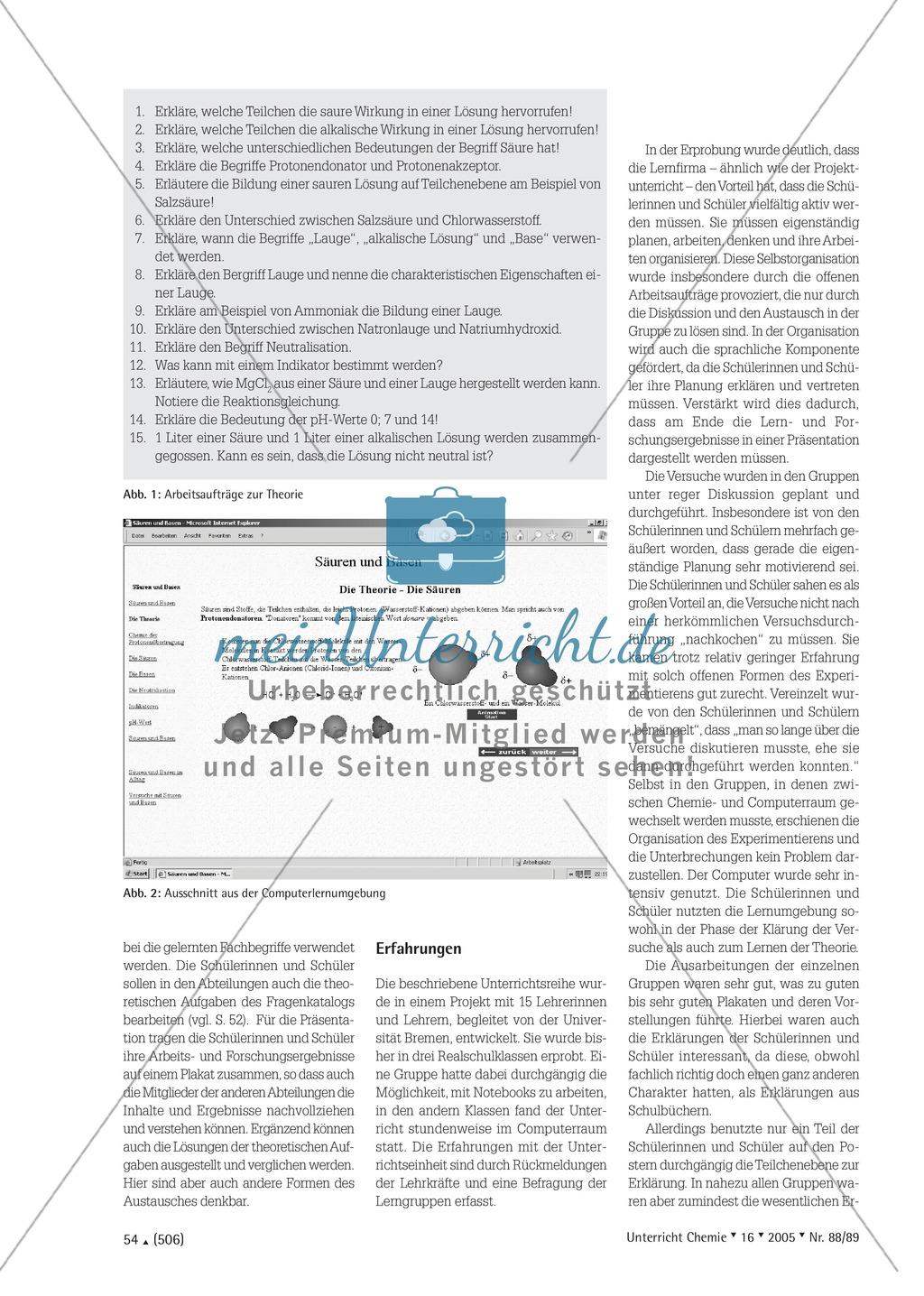 Unterrichtsmethode Lernfirma - Säuren und Basen mit Alltagsbezug Preview 3