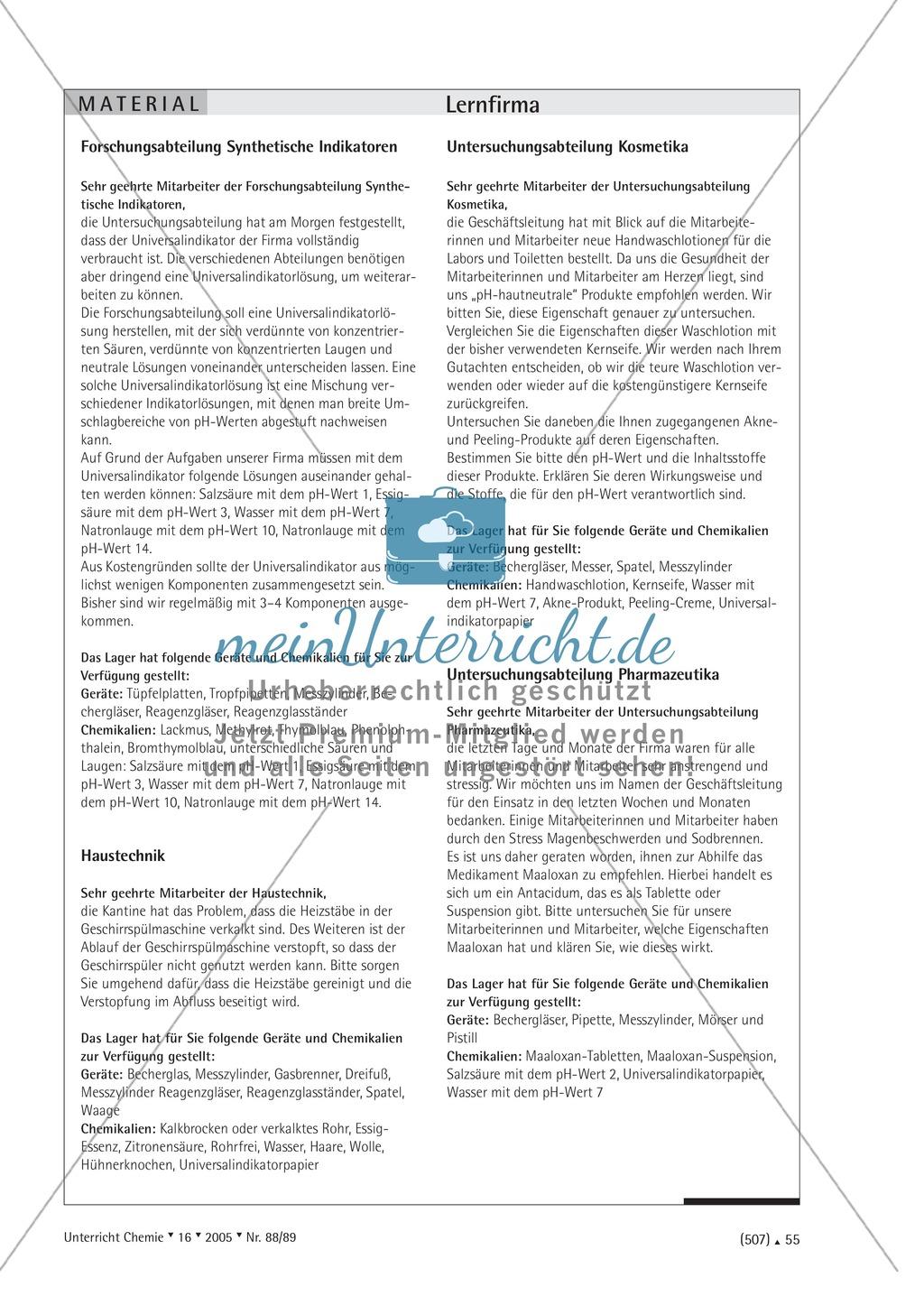 Unterrichtsmethode Lernfirma - Säuren und Basen mit Alltagsbezug Preview 4