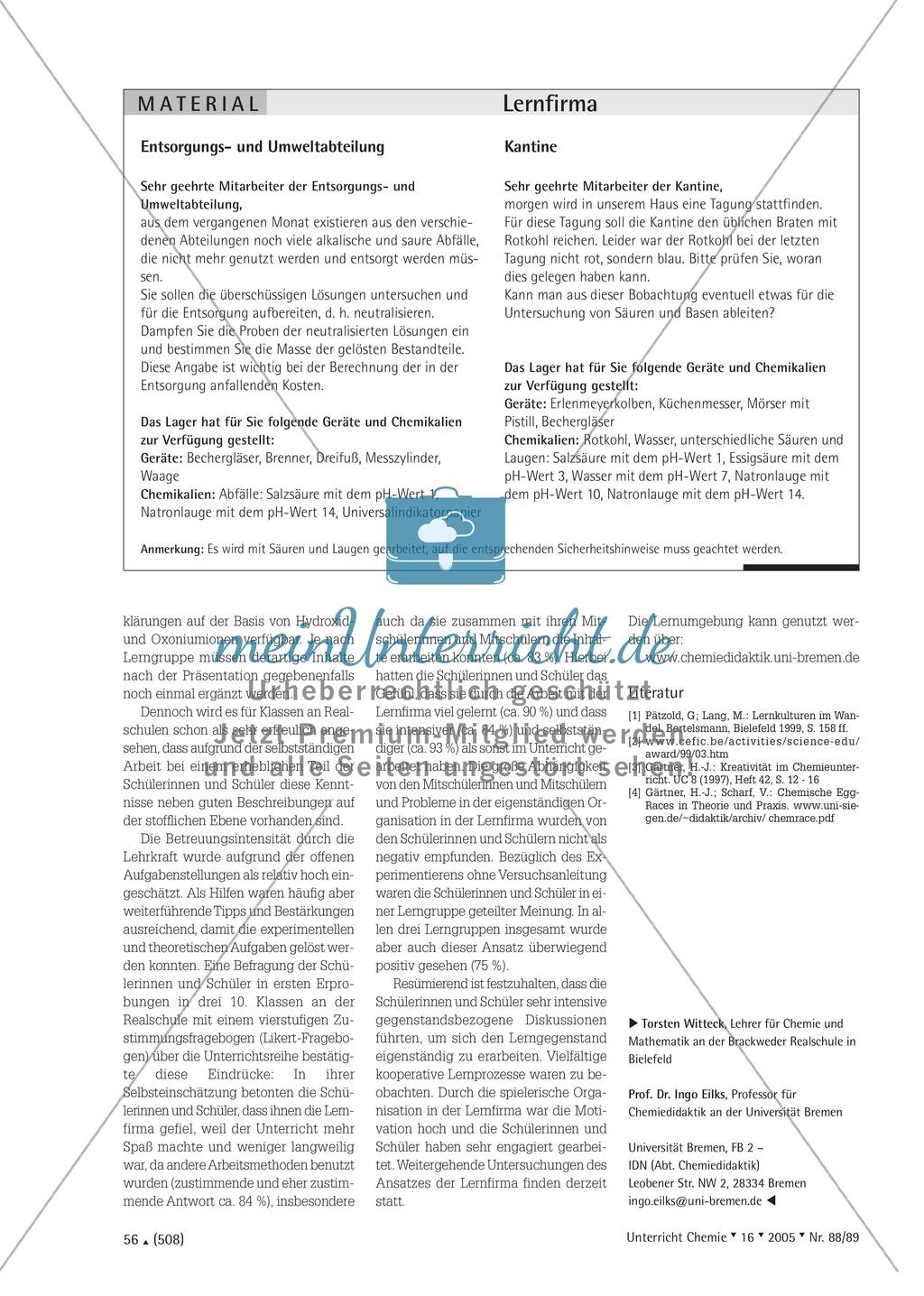Unterrichtsmethode Lernfirma - Säuren und Basen mit Alltagsbezug Preview 5