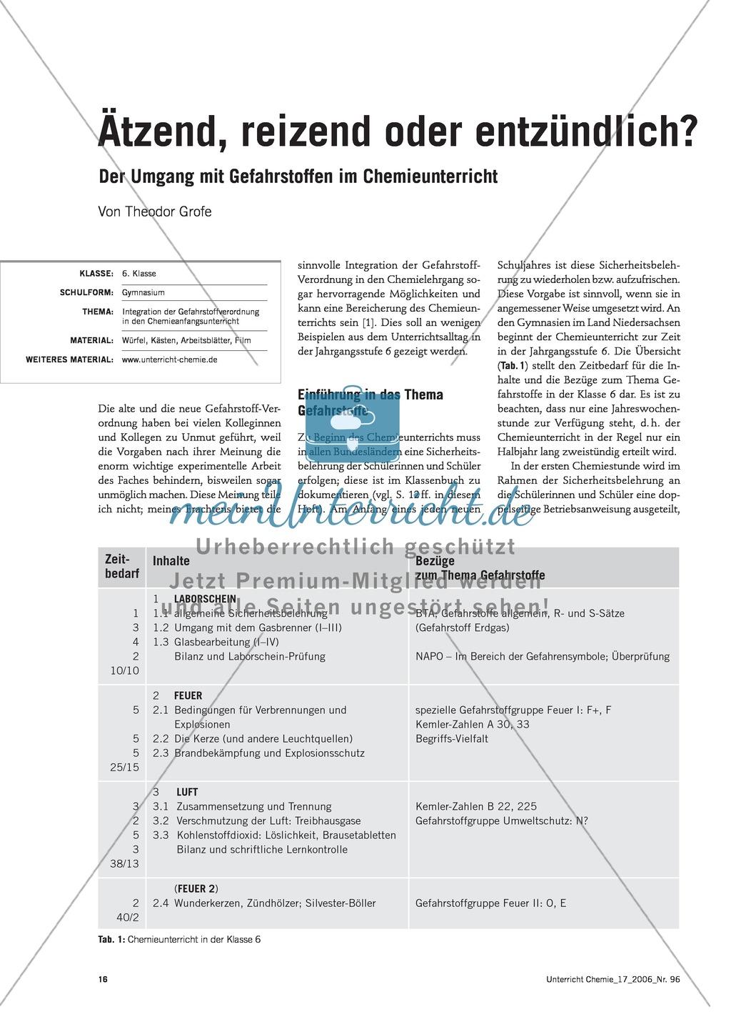 Der Umgang mit Gefahrstoffen im Chemieunterricht - die Gefahrstoffverordnung Preview 0