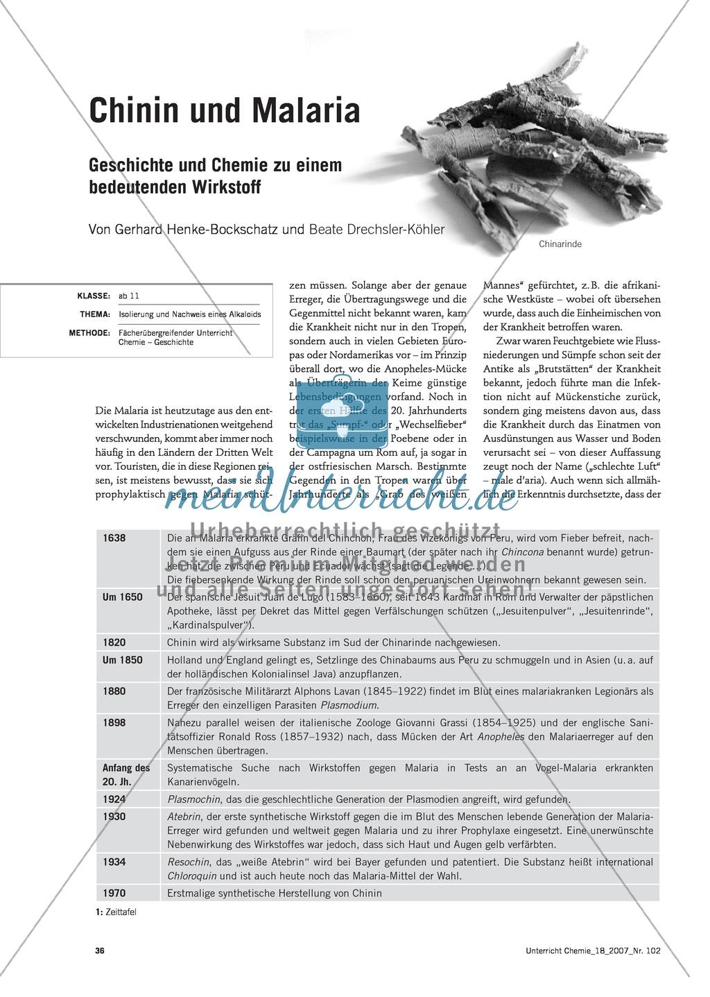 Die Malaria-Erkrankung und die Wirkung von Chinin Preview 0