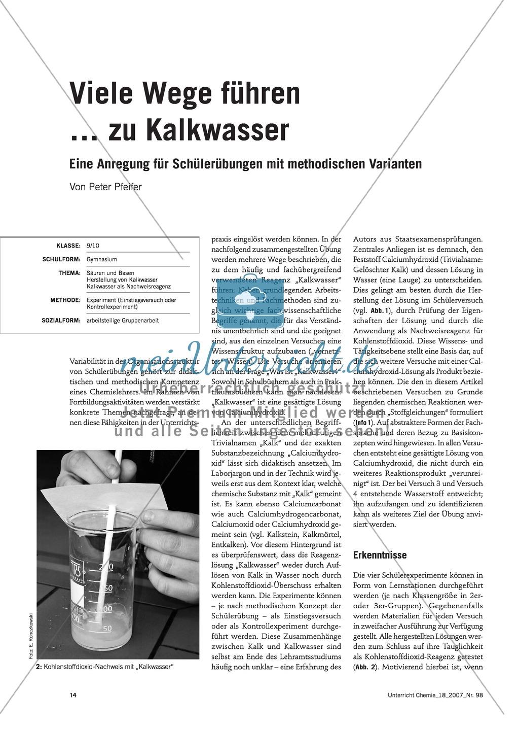Herstellung von Kalkwasser - Experimente für einen Unterrichtseinstieg Preview 0