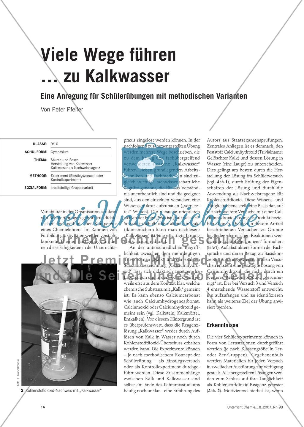 Viele Wege führen … zu Kalkwasser - Eine Anregung für Schülerübungen mit methodischen Varianten Preview 1