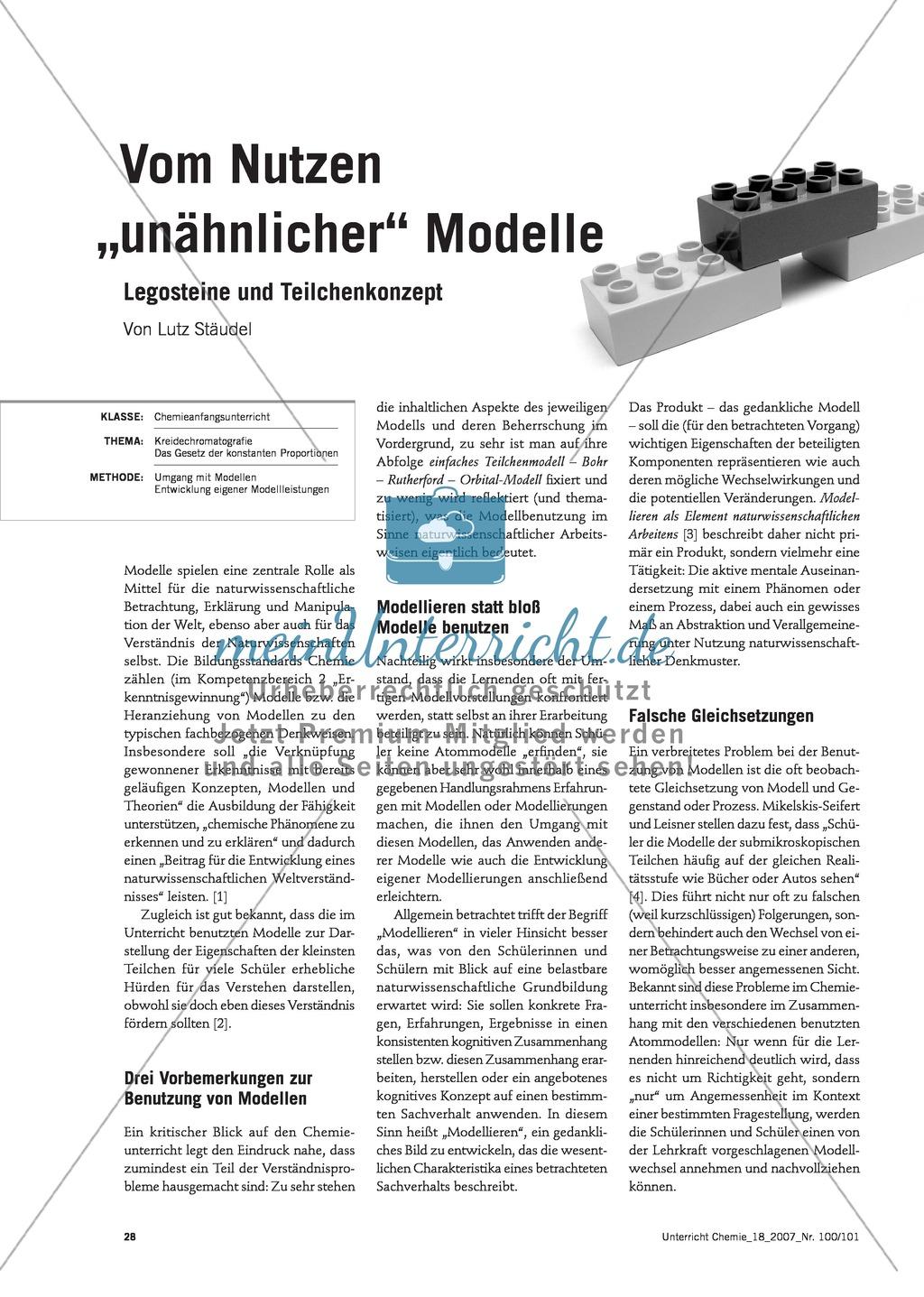 Modellieren: Legosteine und Teilchenkonzept - Kreidechromatographie + Gesetz der konstanten Proportionen + Zellatmung Preview 0