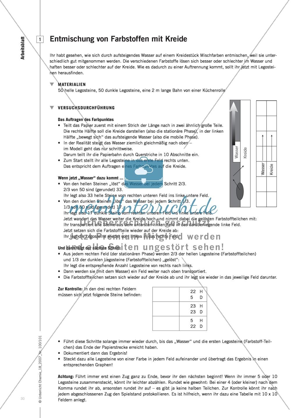 Modellieren: Legosteine und Teilchenkonzept - Kreidechromatographie + Gesetz der konstanten Proportionen + Zellatmung Preview 2