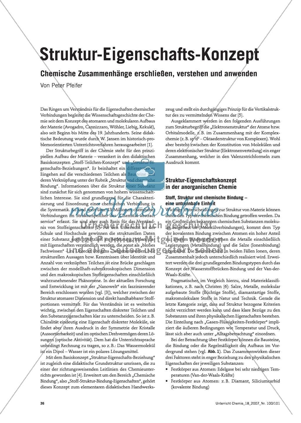 Infotext: Struktur-Eigenschafts-Konzept: Lehrplankonzept Organische und Anorganische Chemie Preview 0
