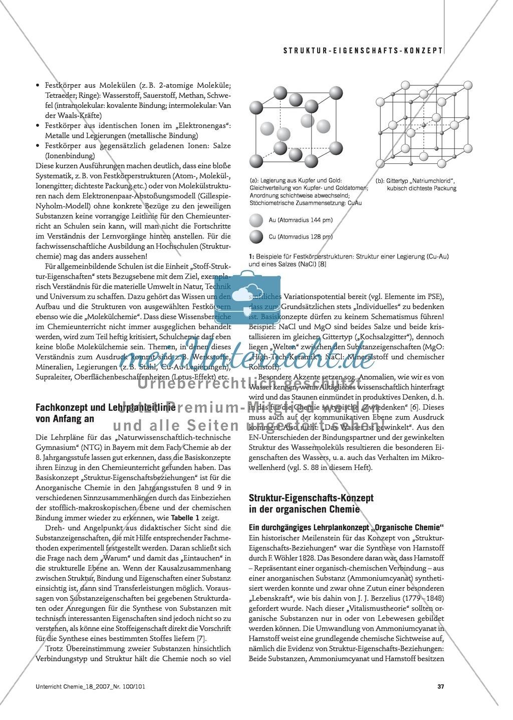 Infotext: Struktur-Eigenschafts-Konzept: Lehrplankonzept Organische und Anorganische Chemie Preview 1