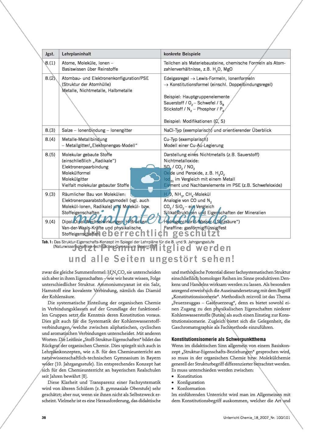 Infotext: Struktur-Eigenschafts-Konzept: Lehrplankonzept Organische und Anorganische Chemie Preview 2