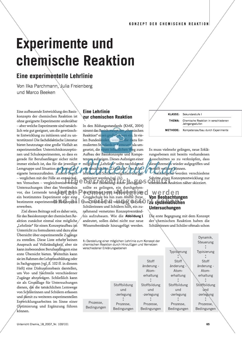 Experimentelle Lehrlinie zur chemischen Reaktion Preview 0