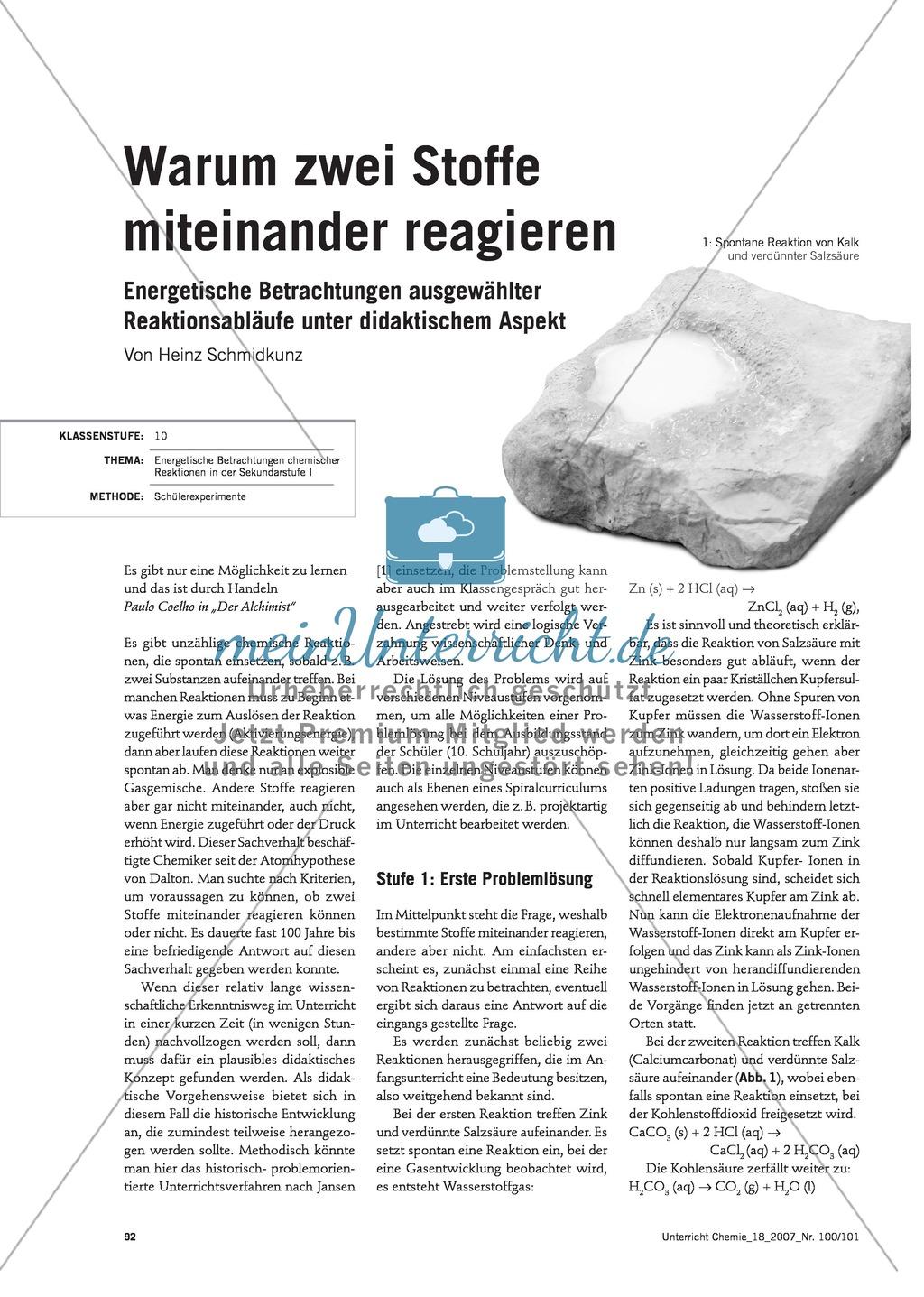 Energetische Betrachtung chemischer Reaktionen im  historisch-problemorientierten Unterrichtsverfahren Preview 0
