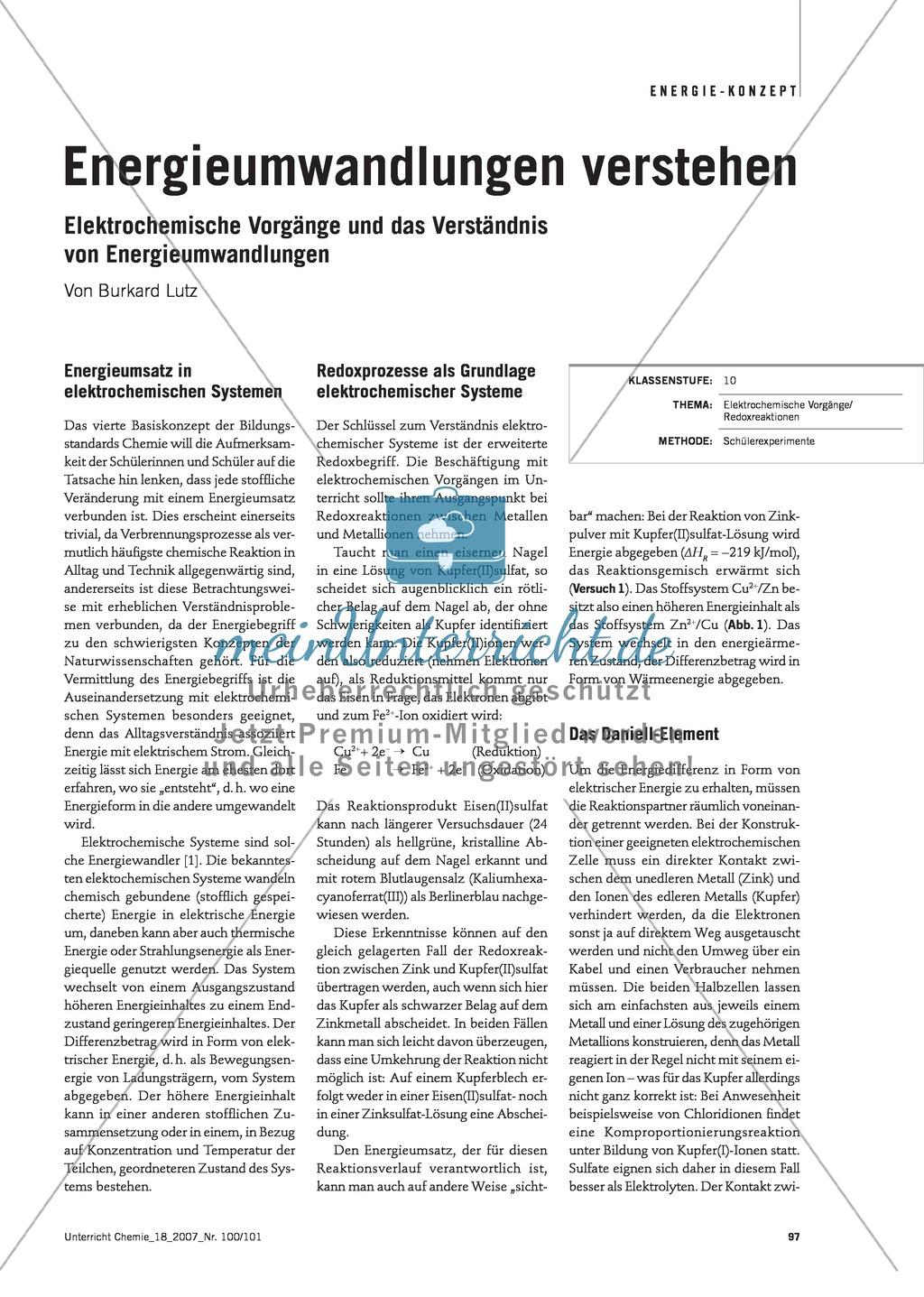 Energieumwandlungen verstehen - Energieumsatz in elektrochemischen Systemen Preview 0